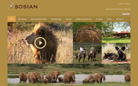 Screenshot of Home Page sosian.com - Sosian   Safari Lodge Kenya   Horseback Safari Kenya   Laikipia Kenya - captured Sept. 21, 2018