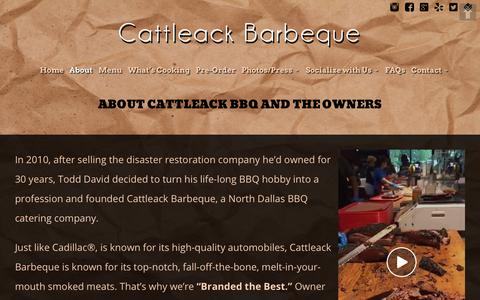 Screenshot of About Page cattleackbbq.com - About CattleAck BBQ and the Owners - captured Sept. 27, 2018