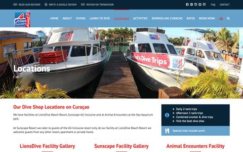 Screenshot of Locations Page oceanencounters.com - Locations - Ocean Encounters Curacao - captured Oct. 20, 2018