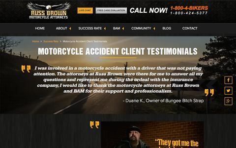 Screenshot of Testimonials Page russbrown.com - Testimonials - Russ Brown / Chuck Koro - Motorcycle Accident Attorneys - captured Feb. 16, 2016