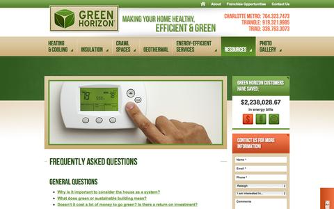 Screenshot of FAQ Page greenhorizon.com - Frequently Asked Questions - captured Sept. 30, 2014