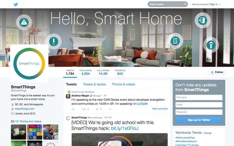 Screenshot of Twitter Page twitter.com - SmartThings (@smartthings) | Twitter - captured Oct. 22, 2014