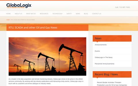 Screenshot of Press Page globlx.com - RTU, SCADA and other Oil and Gas News - Globalogix - captured Oct. 2, 2014