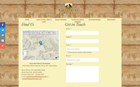 Screenshot of Privacy Page Contact Page greywolfranchtn.com - Grey Wolf Ranch Tennessee - Online : Contact - captured Sept. 23, 2017