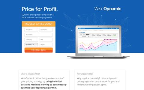 Screenshot of Landing Page wiser.com - WiseDynamic - Automated Dynamic Pricing for Retailers - captured Oct. 27, 2014