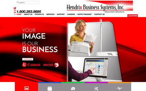 Screenshot of Home Page hendrixbusiness.com - Office Copiers and Printers - Charlotte, Raleigh and Greensboro - captured Sept. 28, 2018