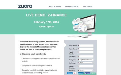 Screenshot of Landing Page zuora.com - Live Demo February 17th | Zuora - captured May 18, 2018
