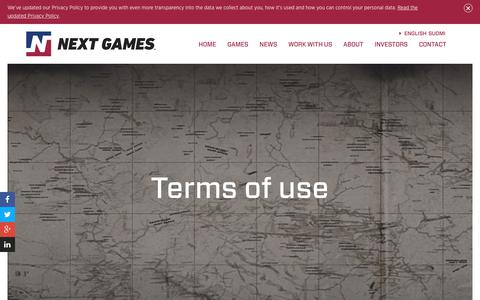 Screenshot of Terms Page nextgames.com - Next Games - captured July 13, 2018