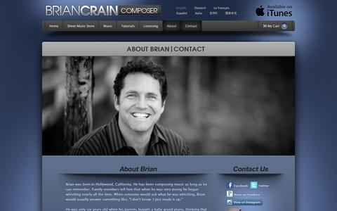 Screenshot of About Page Contact Page briancrain.com - About / Contact Brian Crain Composer - captured May 9, 2016