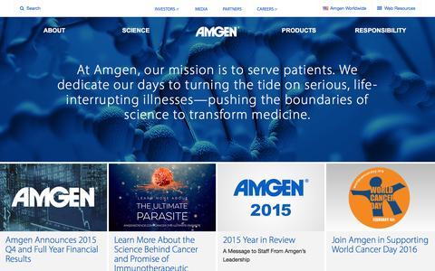 Screenshot of Home Page amgen.com - Amgen - captured Feb. 4, 2016