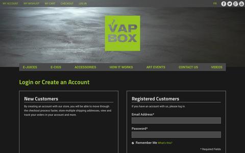 Screenshot of Login Page lavapbox.com - Customer Login - captured Oct. 26, 2014