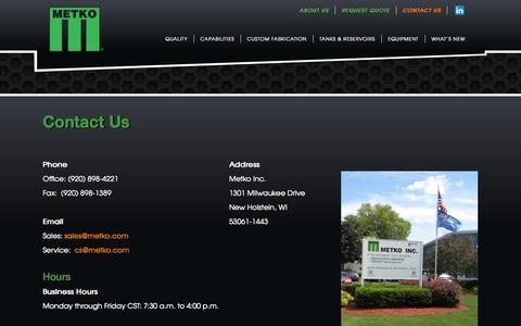 Screenshot of Contact Page metko.com - Contact Us   Metko Inc. - captured Nov. 3, 2014