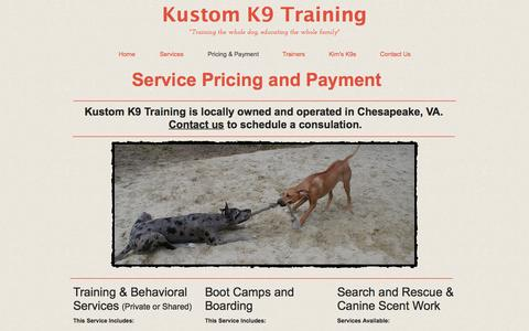 Screenshot of Pricing Page kustomk9training.com - Hampton Roads Chesapeake Dog Trainer - captured April 12, 2017
