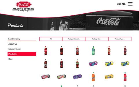 Screenshot of Products Page atlanticbottling.com - Products | Atlantic Coca-Cola Bottling Company - captured March 7, 2016