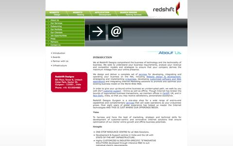 Screenshot of About Page redshiftdesigns.com - Redshift Designs Gurgaon, India: E-Commerce Solutions Strategy And Implementation, Web Site (Website) Design And Development, Hosting, Customized Internet Applications - captured Oct. 1, 2014