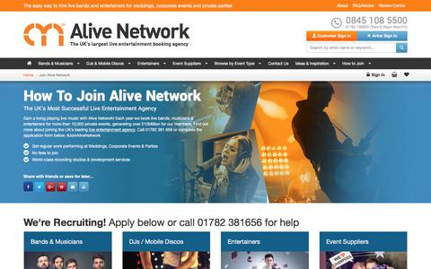 Screenshot of Signup Page alivenetwork.com - Join Alive Network & Earn A Living Playing Music | UK's No.1 Agency - captured Nov. 8, 2017