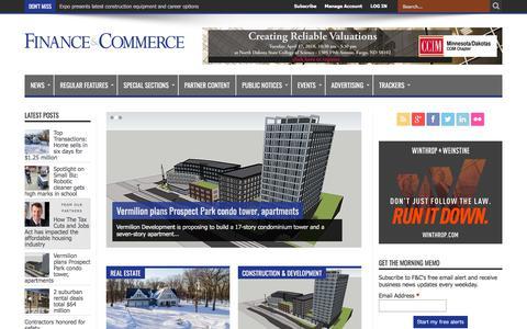 Screenshot of Home Page finance-commerce.com - Finance & Commerce - captured April 8, 2018
