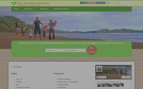 Screenshot of Site Map Page thesundancefamily.com - Sitemap - The Sundance Family - captured Jan. 11, 2016