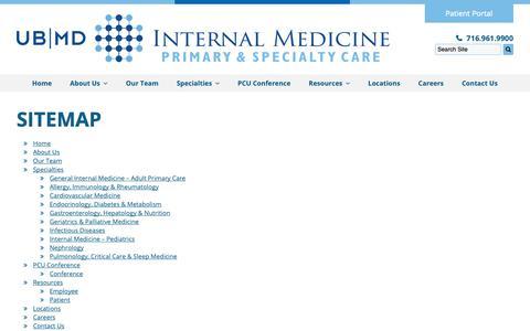 Screenshot of Site Map Page ubmdim.com - Internal Medicine, Primary Care   Sitemap – Amherst, NY - captured Oct. 1, 2018