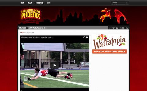 Screenshot of Press Page phlphoenix.com - Phoenix Media | Philadelphia Phoenix :: AUDL - captured Oct. 2, 2014