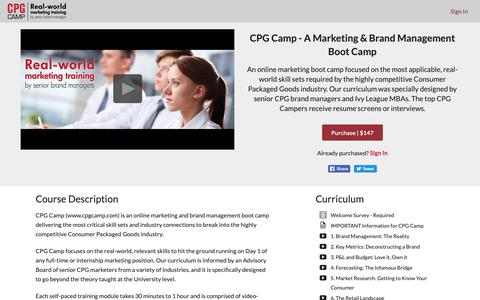 Screenshot of Signup Page cpgcamp.com - CPG Camp - A Marketing & Brand Management Boot Camp - captured Sept. 29, 2018