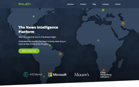 Screenshot of Home Page aylien.com - The News Intelligence Platform | AYLIEN News API - captured July 18, 2019
