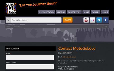 Screenshot of Contact Page motogoloco.com - Contact Us | MotoGoLoco - captured March 5, 2016