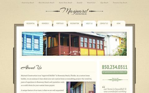 Screenshot of About Page maynardci.com - Maynard Construction Inc. |  Rosemary Beach & 30A Construction Company - captured July 4, 2018