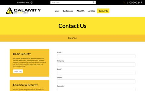 Screenshot of Contact Page calamity.com.au - Looking for a Security Industry Job? Contact Us Now! - captured Sept. 28, 2016