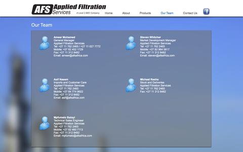 Screenshot of Team Page afsafrica.com - Applied Filtration Services | Our Team - captured Oct. 8, 2017