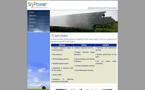 Screenshot of Services Page sripower.in - SriPower - develop, install & operate PV solar plants - captured Oct. 6, 2014