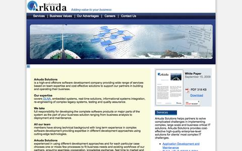 Screenshot of Home Page Site Map Page arkudasolutions.com - Arkuda Solutions software development company - captured Sept. 30, 2014