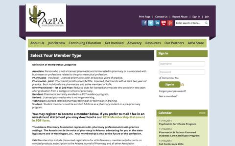Screenshot of Signup Page Site Map Page site-ym.com - Arizona Pharmacy Association - captured Oct. 23, 2014