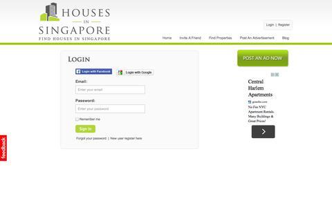 Screenshot of Login Page housesinsingapore.com.sg - Houses in Singapore   Condos for Rent and Sale in Singapore   HDB for Rent and Sale in Singapore - captured Sept. 30, 2014