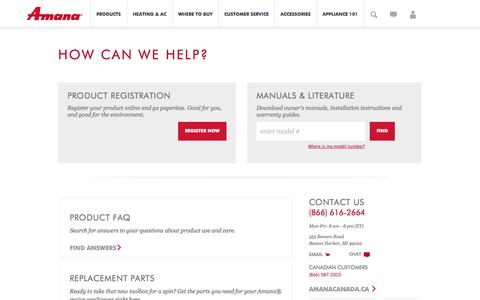 Screenshot of Support Page amana.com - Amana | Owner Center and Customer Care from Amana - captured Nov. 3, 2014