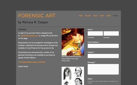 Screenshot of Contact Page mcforensicart.com - Contact - Forensic Art - captured Dec. 15, 2015