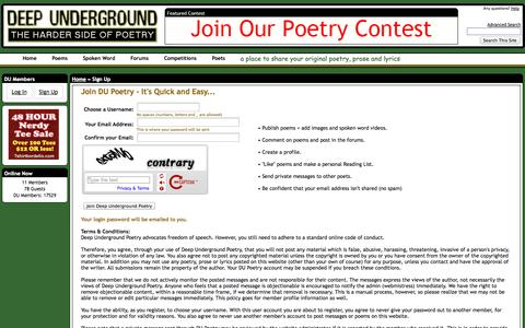 Screenshot of Signup Page deepundergroundpoetry.com - Deep Underground Poetry : Sign Up - Deep Underground Poetry Community - captured Sept. 23, 2014