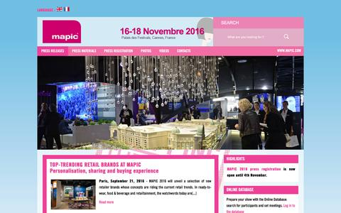 Screenshot of Press Page mapic.com - MAPIC Pressroom - captured Sept. 30, 2016