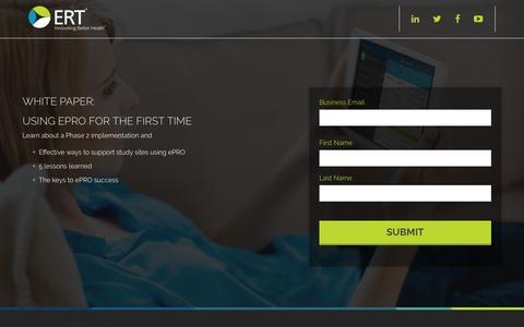 Screenshot of Landing Page ert.com - Using ePRO for the First Time | ERT - captured Sept. 27, 2016