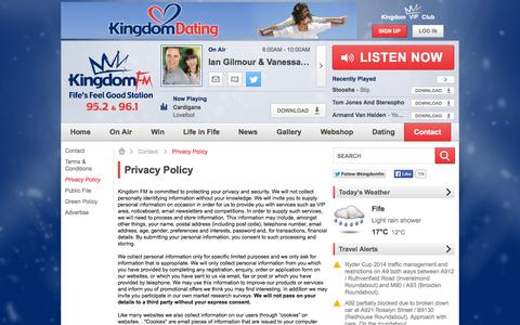 Screenshot of Privacy Page kingdomfm.co.uk - Privacy Policy | Contact - Kingdom FM - captured Sept. 30, 2014