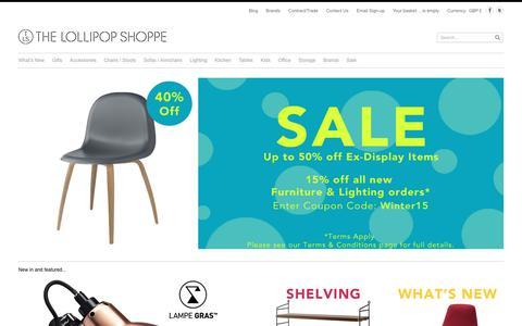Screenshot of Home Page thelollipopshoppe.co.uk - The Lollipop Shoppe | Designer Furniture, Lighting & Gifts - captured Jan. 11, 2016