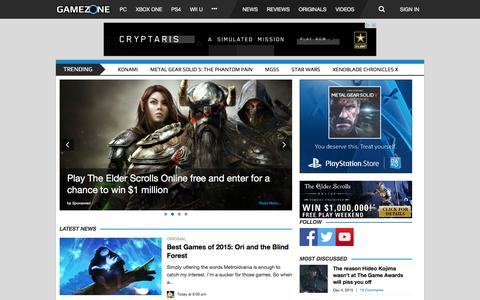 Screenshot of Home Page gamezone.com - Video Game News, Reviews, Guides, Cheats and More - GameZone - captured Dec. 7, 2015