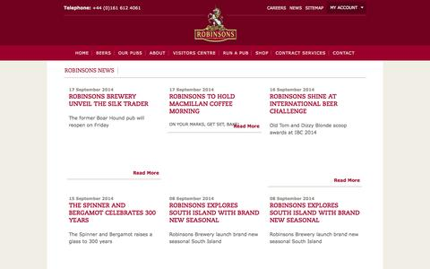 Screenshot of Press Page robinsonsbrewery.com - News - captured Sept. 24, 2014