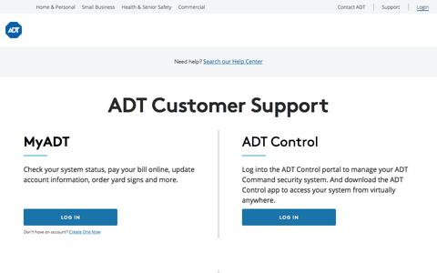 Screenshot of Support Page Login Page adt.com - ADT® Customer Support Services | Manage Your ADT Account - captured Nov. 8, 2019