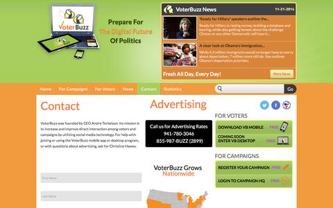 Screenshot of Contact Page voterbuzz.com - Contact - Voterbuzz - captured March 18, 2016