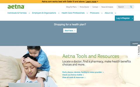 Screenshot of Home Page aetna.com - Health Plans & Dental Coverage | Aetna - captured Jan. 8, 2016