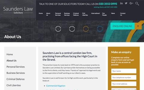 Screenshot of About Page saunders.co.uk - About Us - Saunders Law - captured Nov. 19, 2016