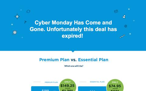 Screenshot of Landing Page unbounce.com - Save 25% on an Unbounce plan this Cyber Monday - captured March 27, 2018