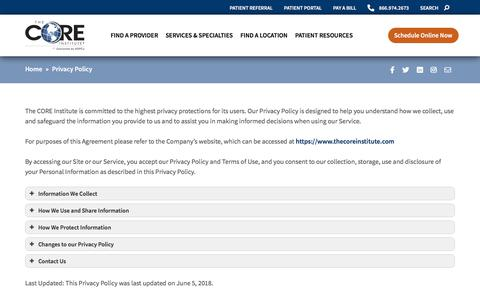 Screenshot of Privacy Page thecoreinstitute.com - Privacy Policy • The CORE Institute - captured Oct. 8, 2019