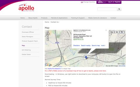 Screenshot of Maps & Directions Page apollo-fire.co.uk - Fire Detection Solutions, Apollo Fire Detectors Ltd - Map - captured Sept. 22, 2014